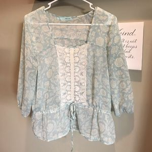 Mint and cream floral blouse